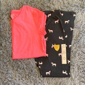 NWT Unicorn Leggings & Hot Pink Top